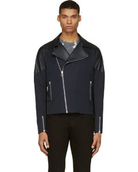 26c70586c2522 Paul Smith Ps Biker Jacket Out of stock · Paul Smith Navy Leather Panel  Biker Jacket