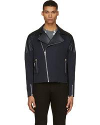 Paul Smith Navy Leather Panel Biker Jacket