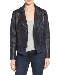 Via Spiga Mixed Media Leather Moto Jacket