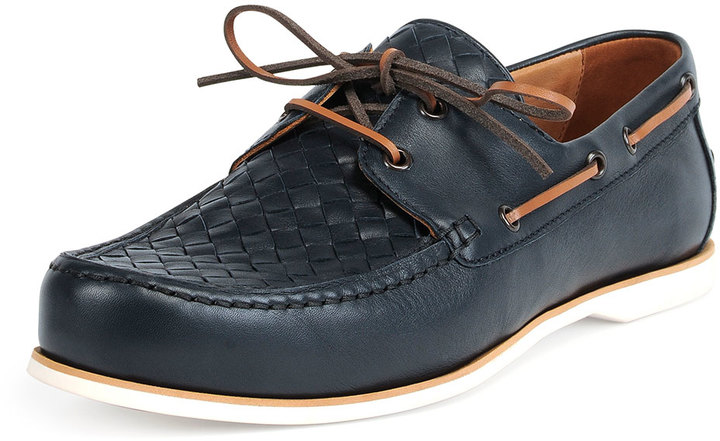 Bottega Veneta Woven Leather Boat Shoe Navy | Where to buy & how ...