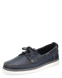 Ermenegildo Zegna Leather Boat Shoe Blue