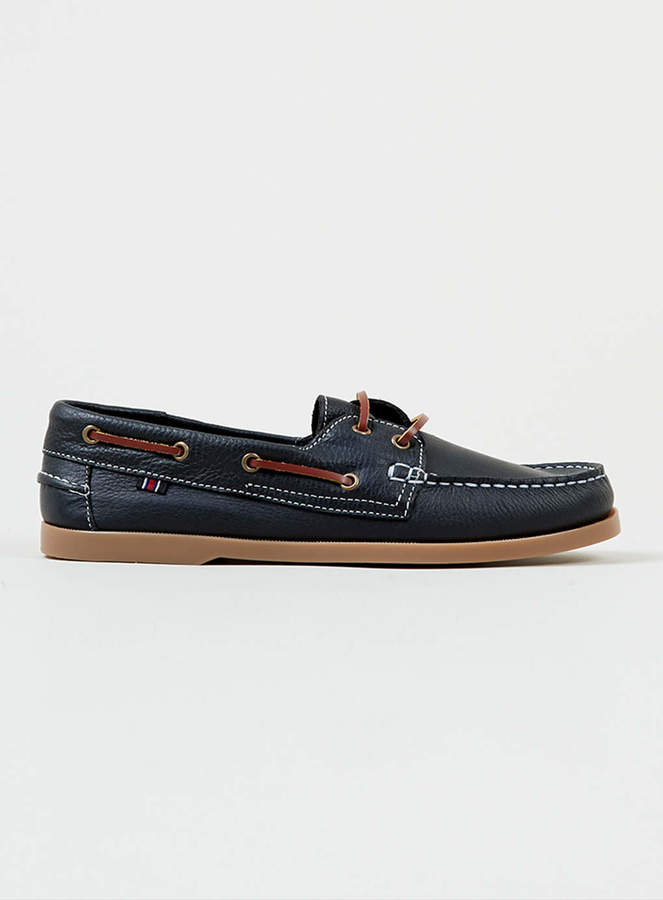 Topman Navy Leather Boat Shoes