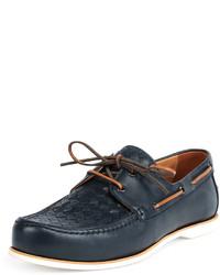 Bottega Veneta Woven Leather Boat Shoe Navy