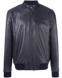 Banded collar leather jacket medium 5423613