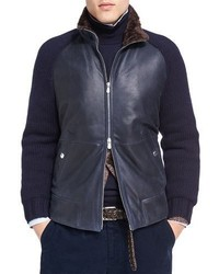 Brunello Cucinelli Cashmere Sleeve Leather Bomber With Shearling Lining