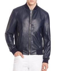 Saks Fifth Avenue Collection Leather Cotton Bomber Jacket