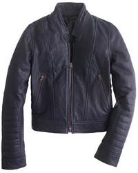 J crew womens leather bomber jacket