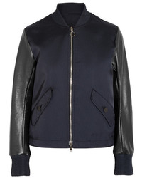 Lace up leather and twill bomber jacket midnight blue medium 1251758