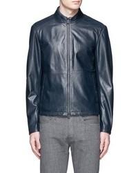 Armani Collezioni Lambskin Leather Blouson Jacket