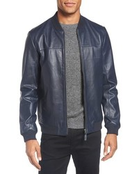 Ted Baker London Action Trim Fit Leather Bomber Jacket