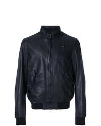 Blauer Mandarin Collar Bomber Jacket