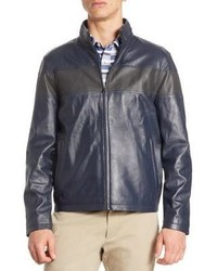 Saks Fifth Avenue Modern Perforated Stripe Leather Bomber Jacket