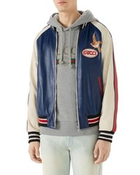 Gucci Multicolor Leather Bomber Jacket