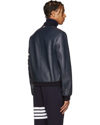 Thom Browne Navy Leather Varsity Bomber Jacket, $3,700