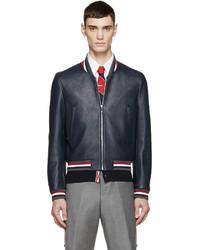 Navy leather varsity bomber jacket medium 451801