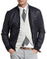 Reversible leather wool bomber jacket navy medium 1009321
