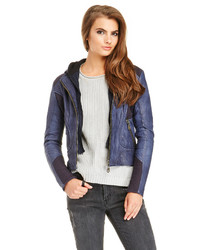 Doma Simone Leather Hoodie Jacket In Navy S