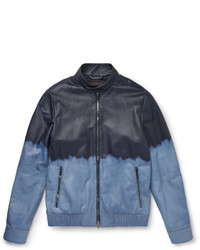 Tod's Slim Fit Dgrad Waxed Leather Bomber Jacket
