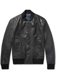Bottega Veneta Slim Fit Intrecciato Trimmed Leather Bomber Jacket