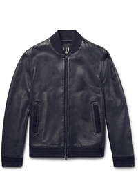 Dunhill Slim Fit Suede Trimmed Leather Bomber Jacket