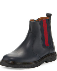 Gucci Joshua Leather Chelsea Boot Blue Toddleryouth Sizes 105t 2y