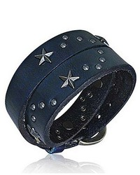 Bling Jewelry Bling Jewelry Patriotic Stainless Steel Star Leather Wrap Bracelet