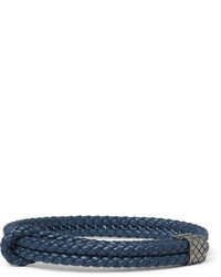 Bottega Veneta Intrecciato Leather Oxidised Silver Bracelet