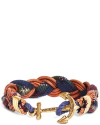 Brooks Brothers Kiel James Patrick Wool Signature Tartan And Leather Braid Bracelet