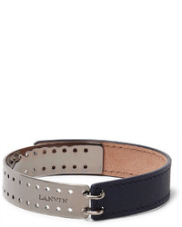 Lanvin Leather Gunmetal Tone Bracelet