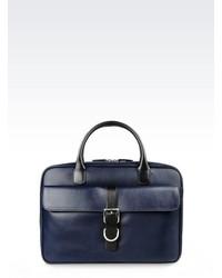 Giorgio Armani Briefcase In Calfskin And Leather