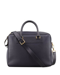 Leather zip briefcase blue medium 131395