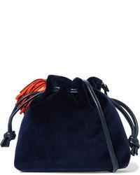 Clare v henri small leather trimmed velvet bucket bag navy medium 3947083