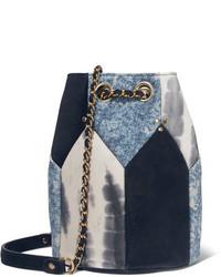 Jrme dreyfuss popeye medium paneled leather bucket bag blue medium 1191136