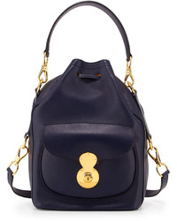 Ralph Lauren Ricky Napa Calfskin Bucket Bag Blue