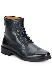 Navy Leather Casual Boots