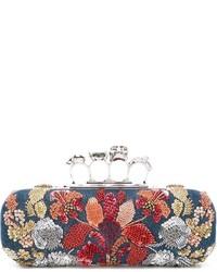 Alexander McQueen Ring Handle Denim Clutch