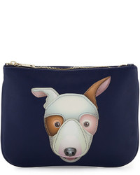 Love Moschino Dog Appliqu Leather Pouch Blue