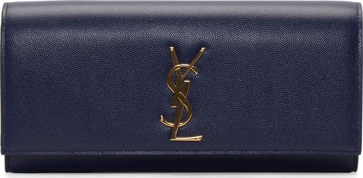 saint laurent the belle de jour patent leather clutch - Saint Laurent Navy Pebbled Leather Monogrammed Clutch   Where to ...