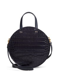 Clare V. Clare V Petit Alistair Croc Embossed Leather Circular Crossbody Bag