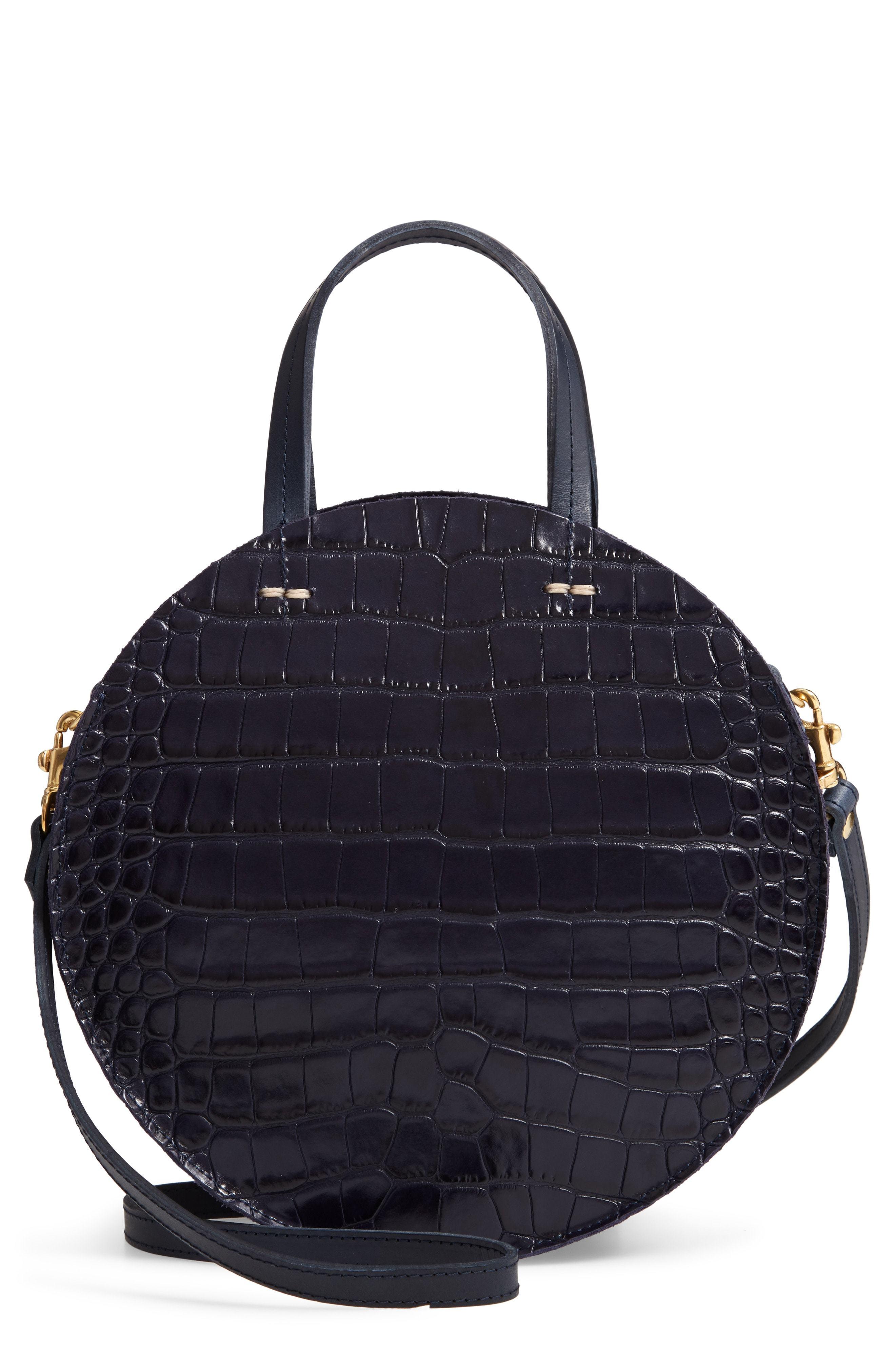 65eceec953e ... Clare V. Clare V Petit Alistair Croc Embossed Leather Circular  Crossbody Bag