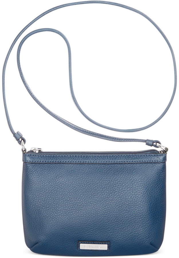 f1afb80034bc ... Bags Calvin Klein Pebble Leather Crossbody ...