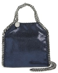 Tiny falabella metallic faux leather crossbody bag grey medium 1150989