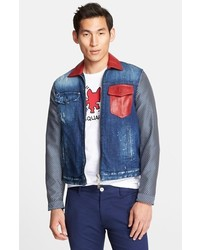 DSquared 2 Leather Trim Denim Jacket