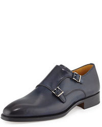Navy Leather Double Monks