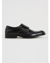 Topman Selected Homme Sel Monk Black Leather Monk Shoes