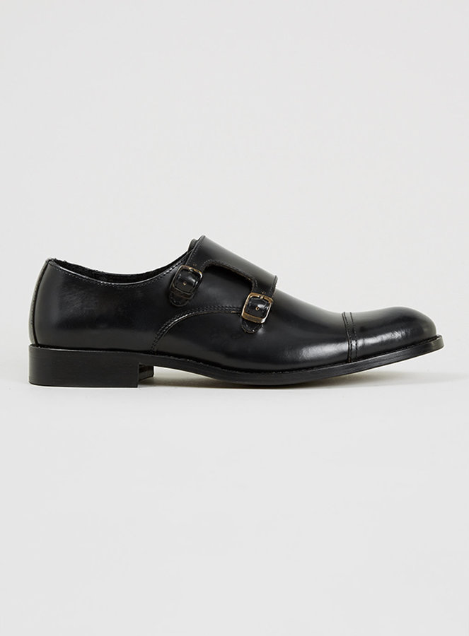 Leather Double Monk Shoes - Black Selected RjPXQZTs