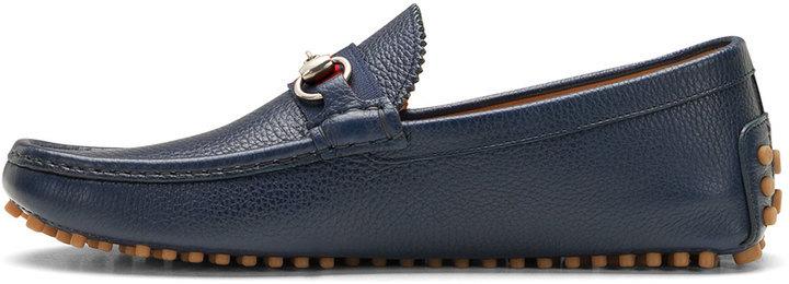6f0333fea Gucci Damo Leather Horsebit Driver Navy, $495 | Neiman Marcus |  Lookastic.com