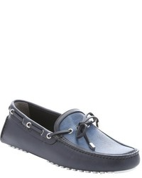 Fendi Navy Leather And Cobalt Zucca Spalmati Driving Loafers