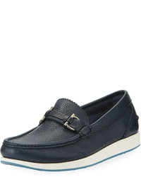 Salvatore Ferragamo Slip On Calf Leather Driver Blue