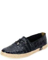 Stefano Ricci Crocodile Leather Espadrille Shoe Blue
